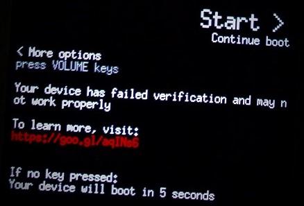 Verified Boot warning